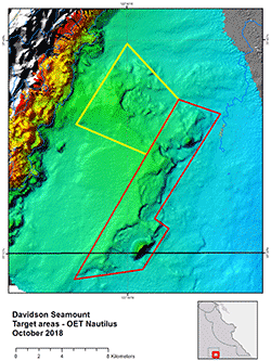 small image of map of target areas at Davidson Sea mount on OET Nautilus 2018