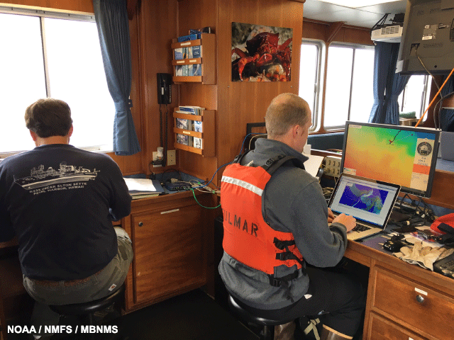 image of NMFS staff Jeff and Curt keep constant watch over the AUV while it is on the bottom
