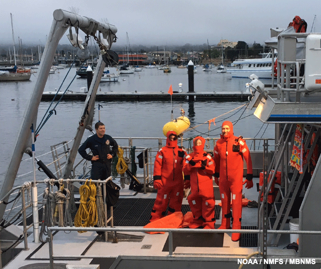 image of our visitors from Oceana putting on a survival suit within 2 minutes, clocked by the captain