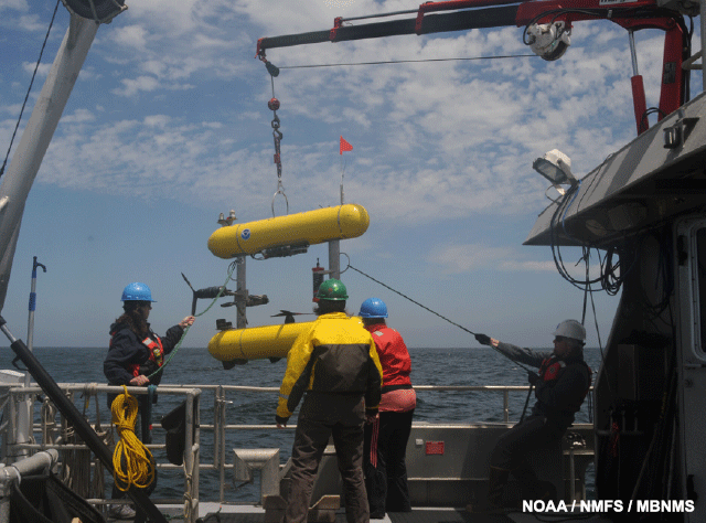 image of AUV recovery using the crane and tag lines to control the swing.