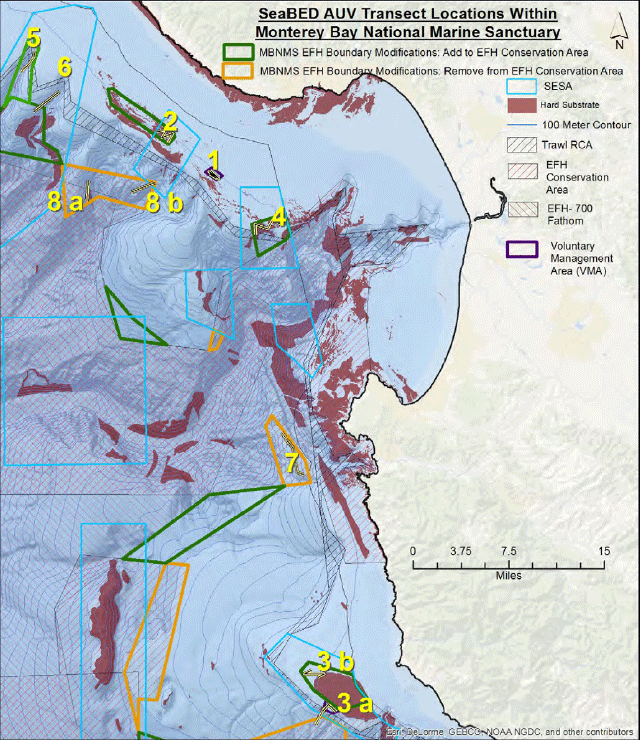map of transect locations for AUV cruise in MBNMS 2017