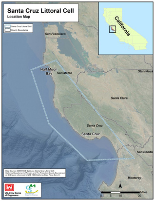 Map of Overview for Santa Cruz Littoral Cell Study Area