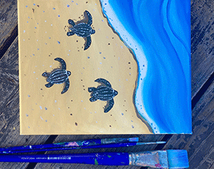 image of leatherback sea turtle art and paint brushed by Anastasiya Bachmanova