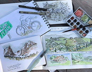 image of various sketchbook art by Tina Fuller