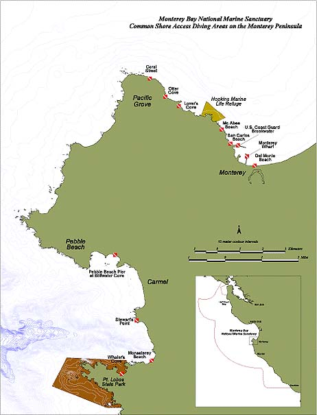 map of diving areas in Monterey Peninsula
