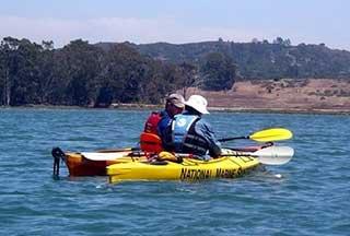 kayaker on monterey bay